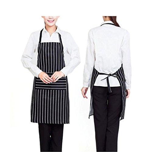 [Iuhan Fashion Strip Apron Pocket Chef Kitchen Cooking Baking Bar Cafe Waiter Unisex Washable (Black)] (Japanese Maid Cafe Costume)