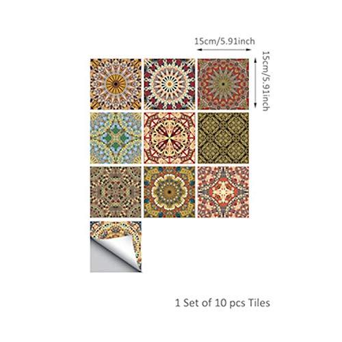 Fostudork Wall Stickers Bedroom, Tile Sticker Waterproof Bathroom Kitchen Wall Stickers Self Adhesive Mosaic Marble…