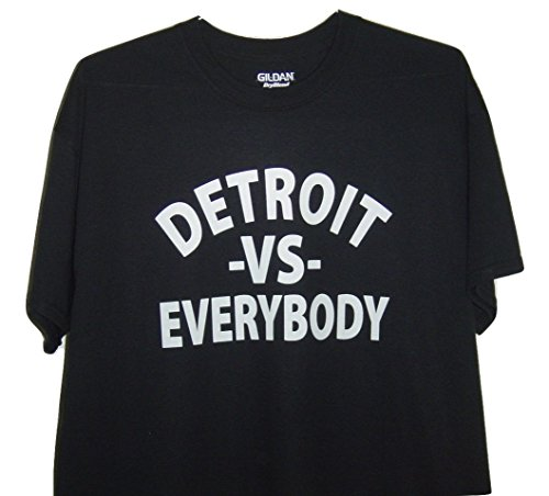 GILDAN Detroit Funny T/Shirt Detroit -Vs- Everybody White Logo (XL, - International Price Shipping