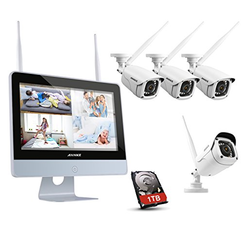 1 Combo Usb Tb (ANNKE 1080P Wireless System, 4CH FHD Wi-Fi NVR Video Surveillance System with 12''LCD Monitor, Automatic Screen Saver, 4×1080P Outdoor IP Camera with IR Night Vision, Remote Access, 1TB HDD Included)
