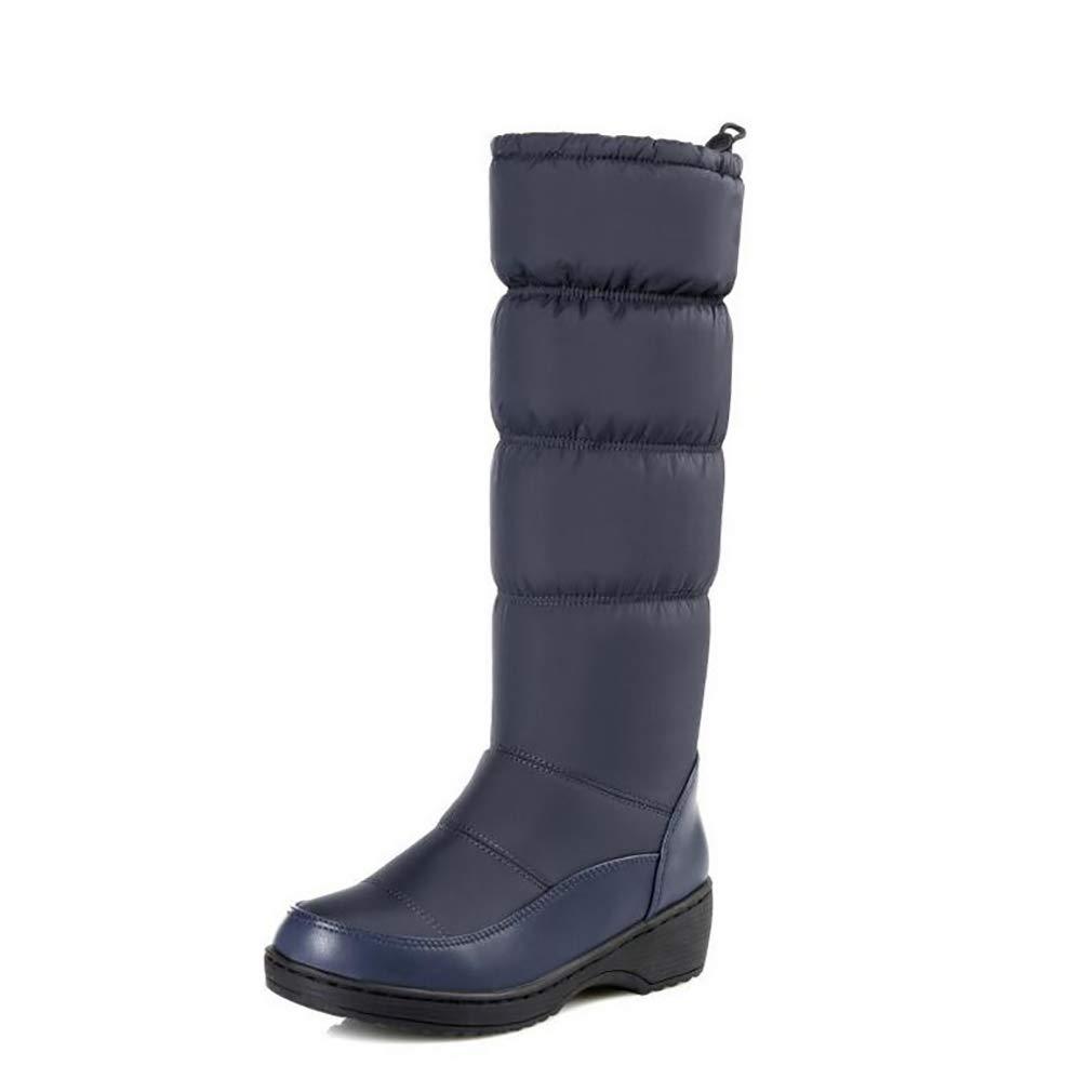 Hy Damen Schneestiefel Stiefel Frühling/Herbst Komfort Komfort Flache Schuhe/Damen Warm Winddicht Hohe Stiefel Weiß, Schwarz, Blau (Farbe : Blau, Größe : 38)