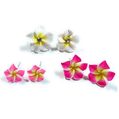 - Teri's Boutique Hawaiian Orchid Plumeria Fimo Flower Stud Pierced Assorted Size Fashion Earrings Set (Pink Fuchia White)