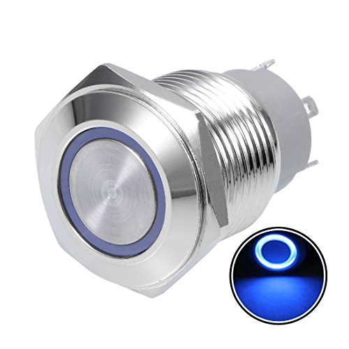 24v Mm 16 Led (uxcell Momentary Push Button Switch 16mm Mounting Dia 5A 1NO with 3V Blue LED Light)