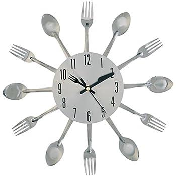 Amazon Com Present Time Wall Clock Silverware Steel