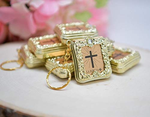 CL Gift 12 x Mini Bible Keychain English Spanish Gold Silver Holy Bible Religious Favor/Baptism Favor/First Communions, Baptism, Wedding Shower (Spanish (Gold))