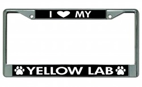 I Love My Yellow Lab Chrome License Plate Frame License Plates Online