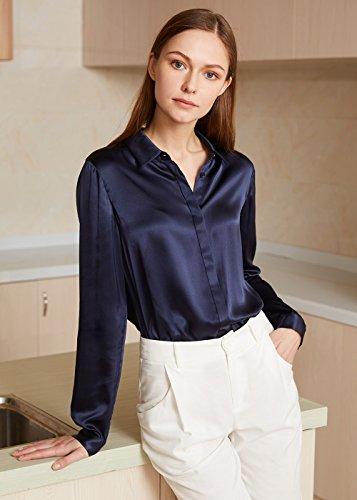 Manches Saisons Chic Bleu 22 LILYSILK Longues Chemisier Femme Col Dcontract Mode V Toutes Marine pour Chemise Soie en Momme 8xxgw5qzp