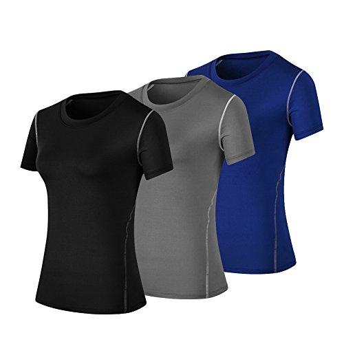 - WANAYOU Women's Compression Shirt Moisture Wicking Performance Workout Athletic Running Short Sleeve T Shirts 3 Pack(Black+Grey+Blue) M