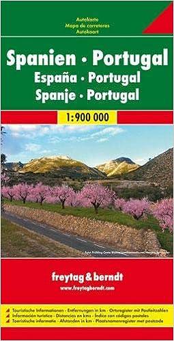 España y Portugal, mapa de carreteras. Escala 1:900.000. Freytag ...