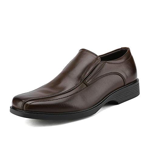 Bruno Marc CAMBRIDGE 05 Men's Formal Loafers Lace Up Slip On Square Moc Toe Leather Lining Dress Classic Oxford Shoes Dark Brown Size 7