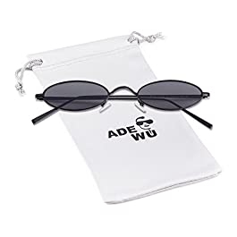 ADEWU Oval & Round Sunglasses Vintage Street Style Eyewear with Thin Metal Rim Men Women