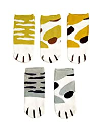 Casual Cotton Socks Animal Style Ankle Height Socks for Women Girls 5 Pairs