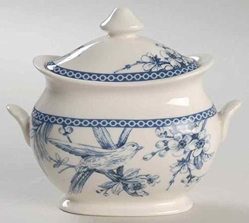 222 Fifth Adelaide Blue & White Sugar Bowl with Lid