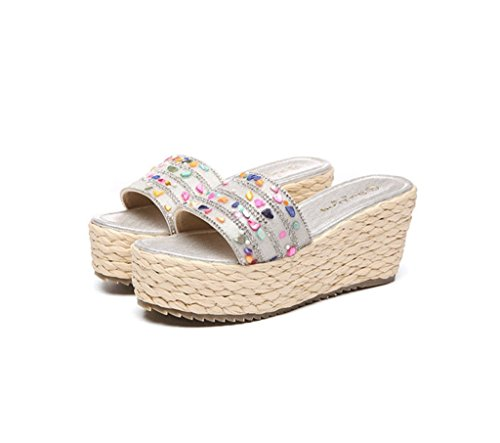 Farbe Hausschuhe Schuhe Silber 37 Gold Wedges Sandals Dicke Schuhe Mode Untere Größe Geflochtene Damen YvwRwU