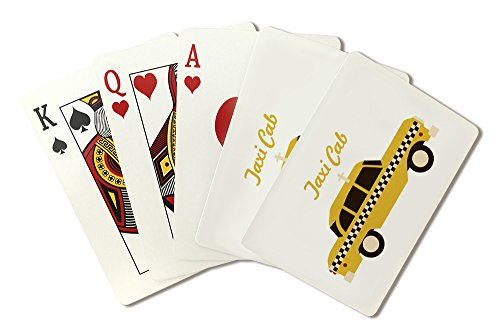 New York City, New York - Retro Skyline - Taxi Cab (Playing Card Deck - 52 Card Poker Size with Jokers)
