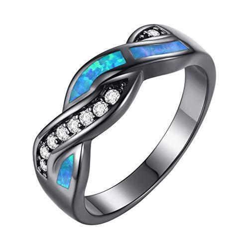 White Diamond Cross Ring Jewelry,Women Diamond Black Gold Wavy Blue Opal Wavy, Women Fashion Creative Natural Luxury Light Promies Ring Muticolor