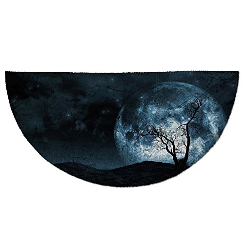 Half Round Door Mat Entrance Rug Floor Mats,Fantasy,Night Moon Sky with Tree Silhouette Gothic Halloween Colors Scary Artsy Background,Slate Blue,Garage Entry Carpet Decor for House Patio Grass Water ()