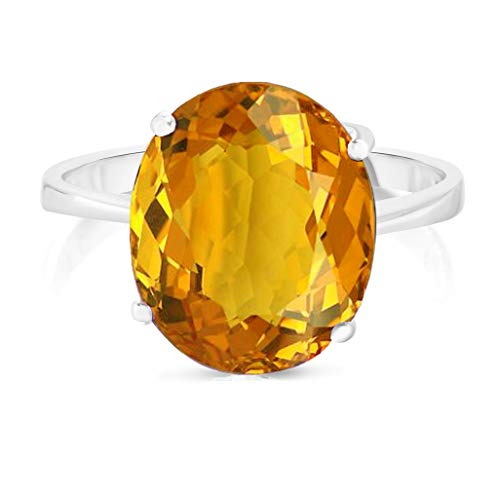 Verona Jewlers Sterling Silver Genuine Gemstone Solitaire Oval Ring for Women- Gemstone Rings Available in and Sizes (8, ()