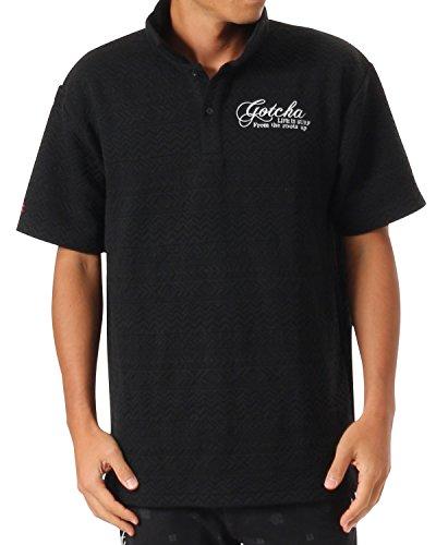 (ガッチャ ゴルフ) GOTCHA GOLF ポロシャツ ビックシルエット ジャカード シャツ 173GG1207 ブラック Lサイズ