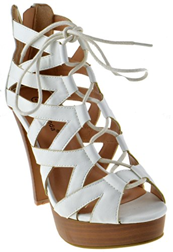 (Table 8 Peep Toe High Heel Lace up Strappy Pumps White 8.5)