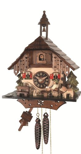 Engstler Cuckoo Clock Black Forest house with moving beer drinker EN 403