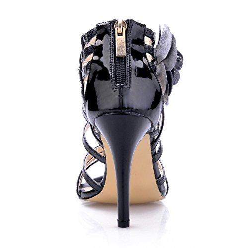 Die dünne Abendessen reifen feine mit Sandalen neue Frauen Black Blumen high Schuhe heel weiblichen schwarze Produkte Schuhe 4qx47wHR