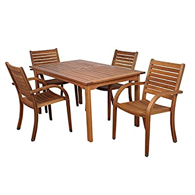 Amazonia Arizona 5-Piece Eucalyptus Rectangular Dining Set - Item may ship in more than one box and may arrive separately Amazonia Eucalyptus Collection 1 Rectangular Table 59Lx36Wx29H    4 Stacking Armchairs 23Wx23Dx36H .Seat Dimensions:16.5Wx17Dx18H. - patio-furniture, dining-sets-patio-funiture, patio - 41zIkr6WcwL. SS400  -