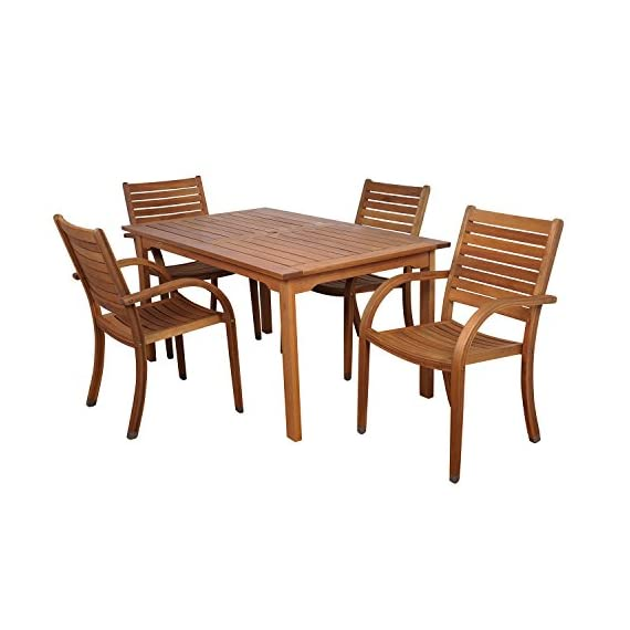 Amazonia Arizona 5-Piece Patio Rectangular Dining Table Set | Eucalyptus Wood | Ideal for Outdoors and Indoors - Item may ship in more than one box and may arrive separately Amazonia Eucalyptus Collection 1 Rectangular Table 59Lx36Wx29H    4 Stacking Armchairs 23Wx23Dx36H .Seat Dimensions:16.5Wx17Dx18H. - patio-furniture, dining-sets-patio-funiture, patio - 41zIkr6WcwL. SS570  -