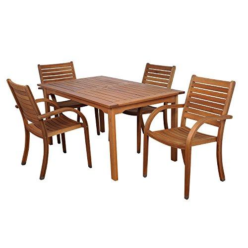 Amazonia Arizona 5-Piece Eucalyptus Rectangular Dining Set (Miami Piece 8 Patio Set)
