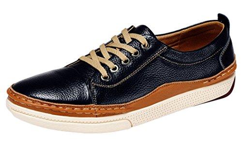 WUXING Men's Leather Oxfords Lacing Shoe (9 D(M)US,blue)