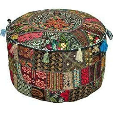 Rajasthali  Bohemian Patch Work Ottoman Cover,Traditional Vintage Indian Pouf Floor/Foot Stool, Christmas Decorative Chair Cover,100% Cotton Art Decor Cushion, 14x22'. Only Cover, Filler not Included