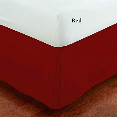 Fancy Collection Easy Care Tailored Microfiber Bed Skirt Solid New (Queen, Red)