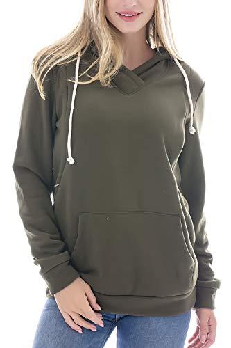 354e34b4441b4 Smallshow Women's Fleece Maternity Nursing Sweatshirt Hoodie Green Small
