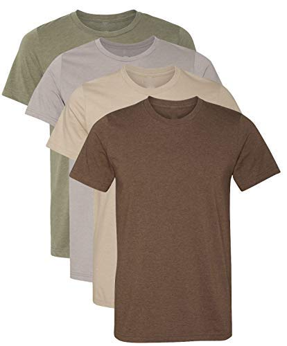 Kennedy Todd 4 Pack Men's Heather Cotton Poly T-Shirt (X-Large, Heather Earth)