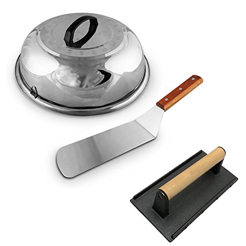 (Large Cheese Melting Dome, Winco Flat Grill Melt Basting Cover Domes, Grill Lid Steam Cover, Heavy-Weight Cast Iron Grill Press/Hamburger Bacon Steak Grill Press + FREE Hamburger Turner Spatula)