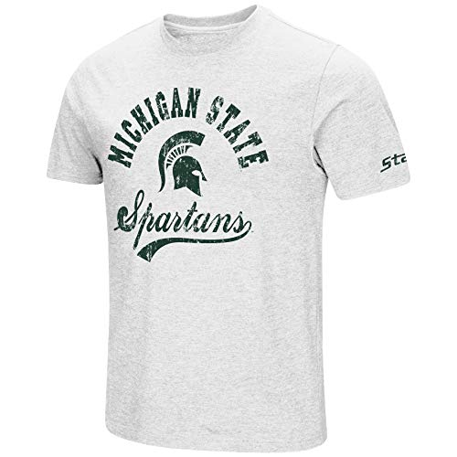 NCAA Colosseum Men's Vintage Dual-Blend T-Shirt with 2 Logos (Michigan State Spartans-White, ()