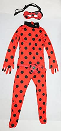 MANEMEKA.JP Girls Miraculous Ladybug Style Costume [ Kids S/M/L/LL sizu 3item ] Anime Cosplay (X-Large)