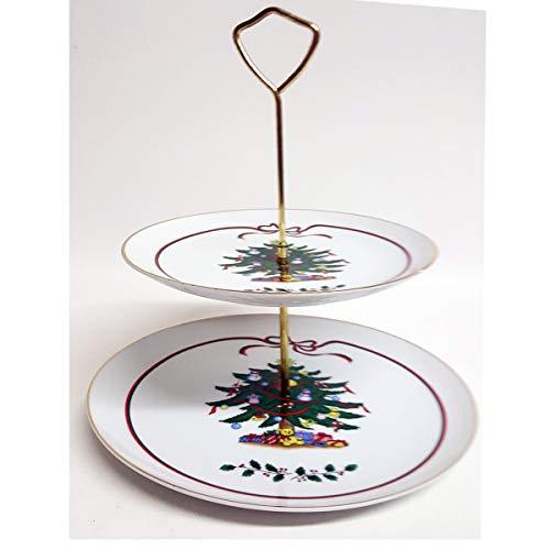 (Dayton Hudson Happy Holidays Styled Porcelain 2 Tier Tidbit Serving Tray w/Handle Christmas Tree )