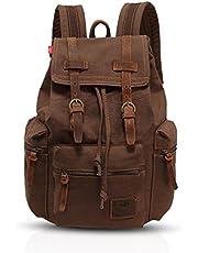 FANDARE Vintage ryggsäck 15,6 tum laptop högskola väska arbete resa vandring dagväska canvas