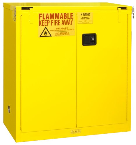 Durham FM Approved 1030S-50 Welded 16 Gauge Steel Flammable Safety Self Closing Door Cabinet, 1 Shelves, 30 gallons Capacity, 18
