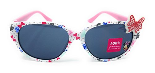Disney Store Girl's Minnie Mouse Sunglasses in White and Pink with Cute - Sunglass Disney