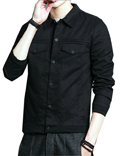 Sleeve security Jacket Lightweight Button Black Coat Long Mens Lapel Solid ZqvwZ