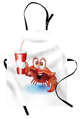 (Ambesonne Crabs Apron, Thirsty Marine Animal with Drink on a Paper Cup with Straw Summertime Theme, Unisex Kitchen Bib Apron with Adjustable Neck for Cooking Baking Gardening, Vermilion White)