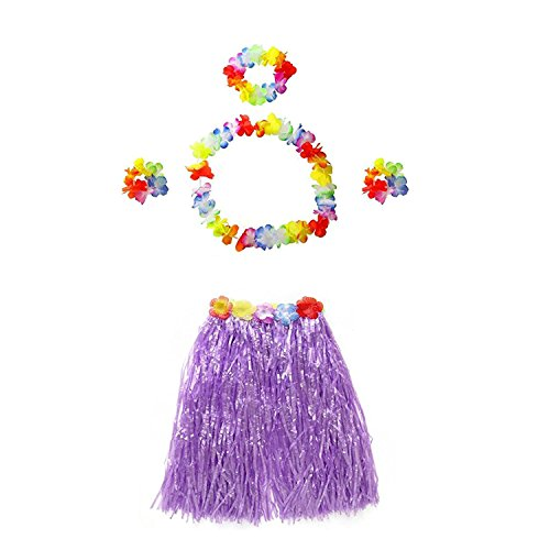 TRADERPLUS Girl Elastic Hawaiian Hula Dancer Grass Luau Skirt with Flower Costume Set for Kids