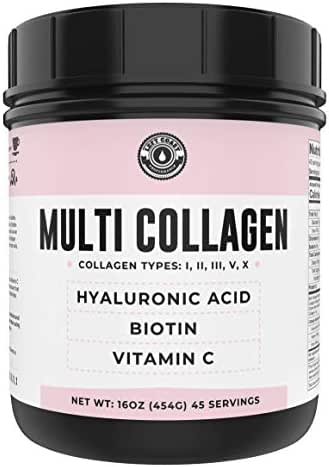 Collagen with Biotin, Hyaluronic Acid, Vitamin C (1 lb Powder) | Hydrolyzed Multi Collagen Peptide Protein (Types I, II, III, V, X). Collagen for Hair, Skin, Nails. Collagen Supplement for Women, Men