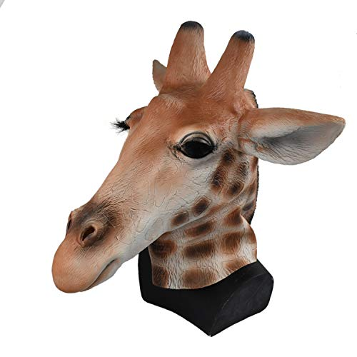 Latex Animal Head Masks for Prop Theater Halloween School Mannequin Party Fancy Dress (Giraffe Mask) -