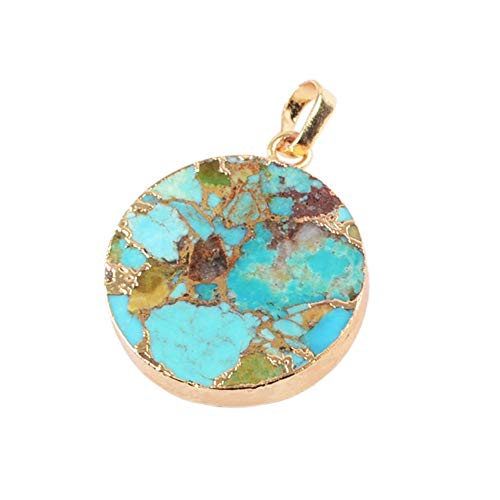 ZENGORI 1 Pcs Gold Plated Copper Natural Turquoise Round Pendant for Unisex G1686