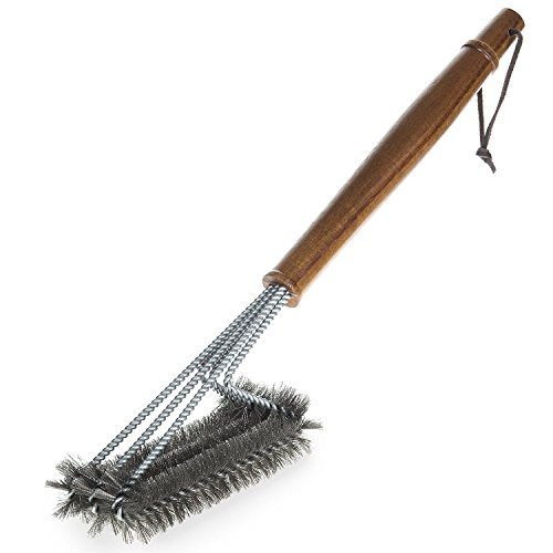 BBQ-Aid Grill Brush – Cleans All Angles, Extended, Large Wooden Handle and Stainless Steel Bristles – No Scratch Cleaning for Any Barbecue or Grill: Char Broil & Ceramic by BBQ-Aid (Image #5)