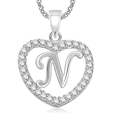 Buy meenaz silver plated n letter pendants alphabet pendant with meenaz silver plated n letter pendants alphabet pendant with chain for menwomen mozeypictures Images
