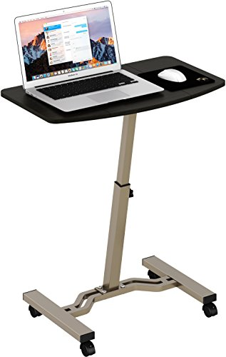 SHW Height Adjustable Mobile Laptop Stand Desk Rolling Cart -